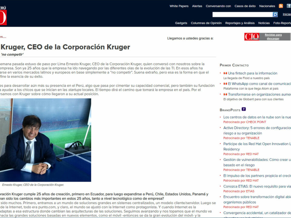 Ernesto Kruger, CEO de la Corporación Kruger La estrategia de 'no competir'